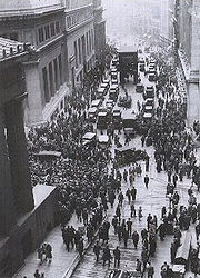 Crowd gathering on Wall Street after the 1929 crash.